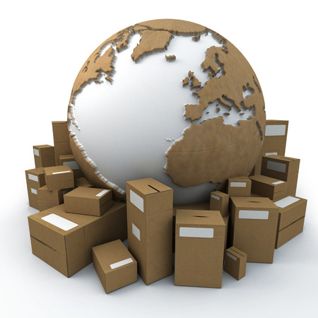 earth moving: White and cardboard earth surrounded by big cardboard boxes Stock Photo