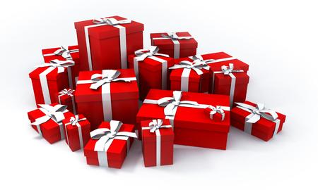 generosidad: pila de las cajas rojas del regalo con las cintas blancas
