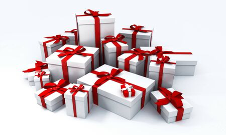 Huge pile of white gift boxes with red ribbons on a neutral background photo