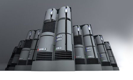 server farm: 3D rendering of a group of servers
