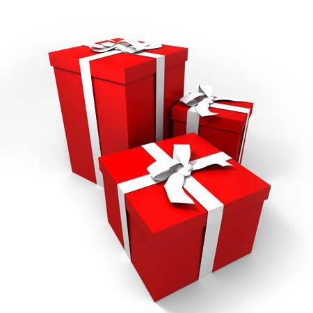 3 red gift boxes with white ribbons photo