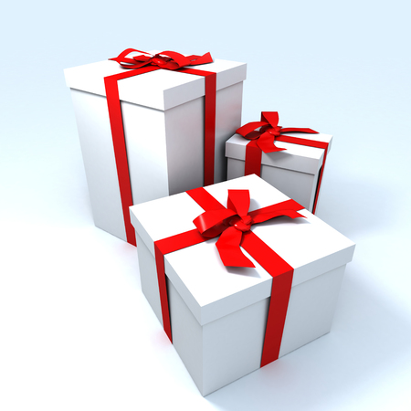 3 white gift boxes with red ribbons Stock Photo