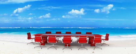 Meeting room in a tropical beach photo