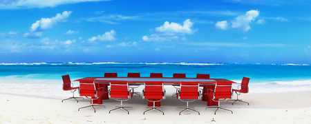Meeting room in a tropical beach Stock Photo