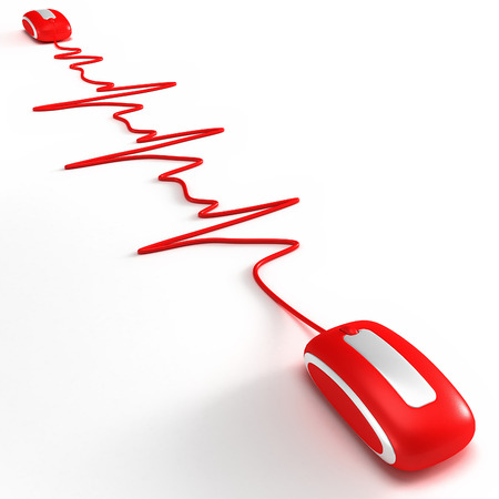 Two red mouses connected by a cable shaped like a heartbeat graphic Stock Photo - 1558412