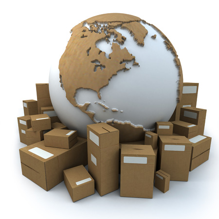 White and cardboard earth surrounded by big cardboard boxes photo