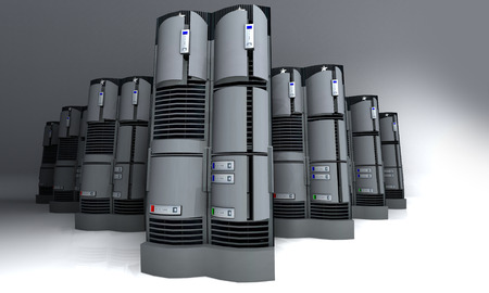 3D rendering of a group of servers Stock Photo - 1565135