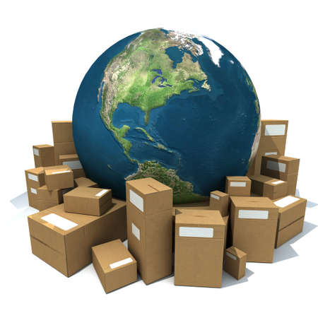 World Globe surrounded by big carboard boxes photo