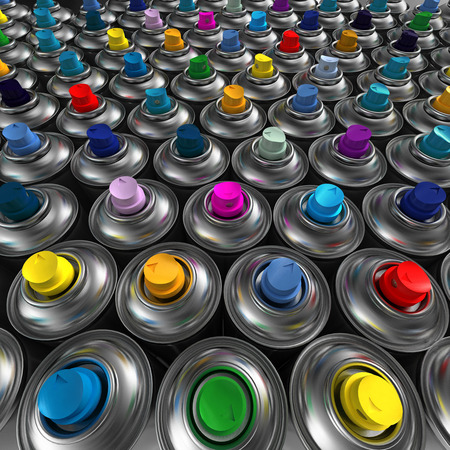 Aluminum spray cans with differently colored nozzles photo
