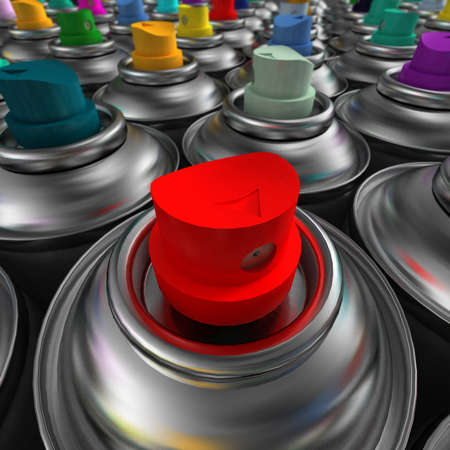 differently: Aluminum spray cans with differently colored nozzles