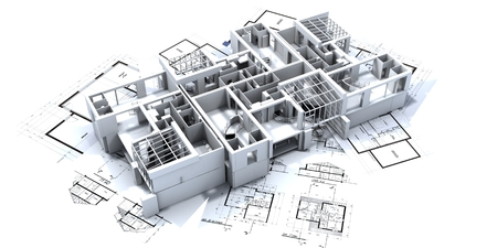 three houses on top of architect's blueprints Stock Photo - 1584939