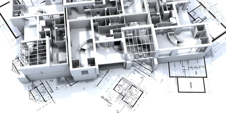 appartment mockup on top of architect's blueprints Stock Photo - 1585009