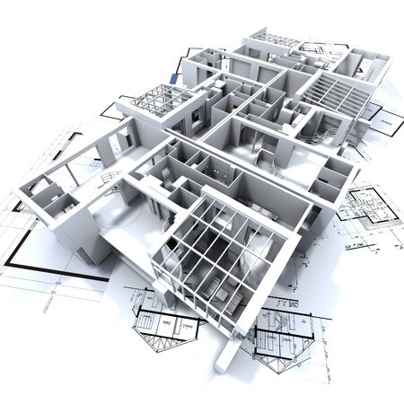 appartment mockup on top of architect's blueprints Stock Photo - 1584917