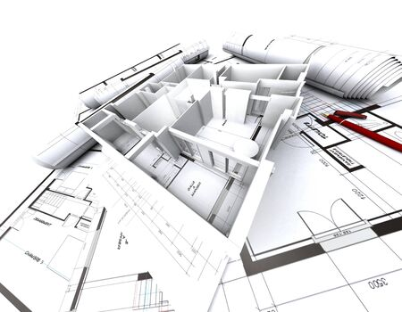 appartment mockup on top of architect's blueprints Stock Photo - 1584920