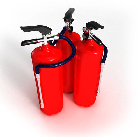 extinguishers: Three red fire extinguishers on a neutral background