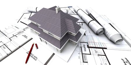 foresee: House mockup on architect blueprints Stock Photo