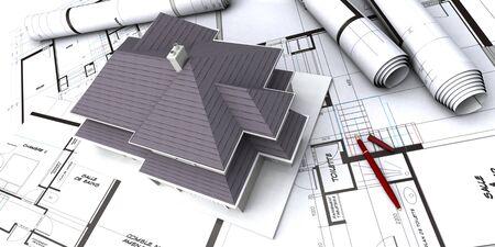 House mockup on architect blueprints Stock Photo - 1585011