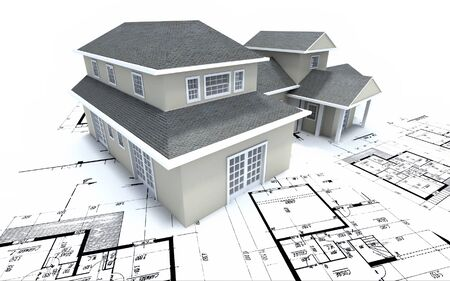 maquette: House mockup on architect blueprints Stock Photo
