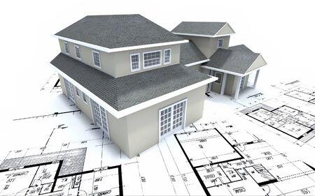 House mockup on architect blueprints Stock Photo
