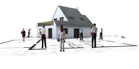 foresee: House mockup with construction staff on top of blueprints Stock Photo