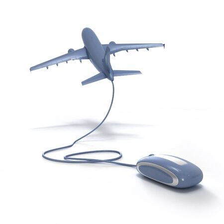 3D rendering of an airplane connected to a computer mouse Stock Photo - 1584854
