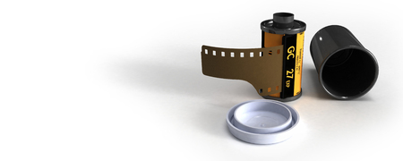 canister: Film canister opened and unrolled Stock Photo
