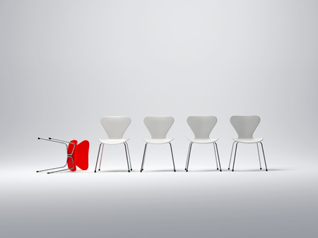 candidate: Row of white chairs and a red one fallen down Stock Photo