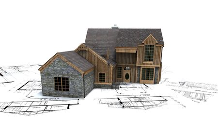 Rustic house on top of architect's blueprints Stock Photo - 1584947
