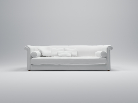 cor: 3D rendering of a luxurious comfortable looking white sofa