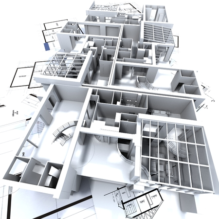 appartment mockup on top of architect's blueprints Stock Photo - 1614811