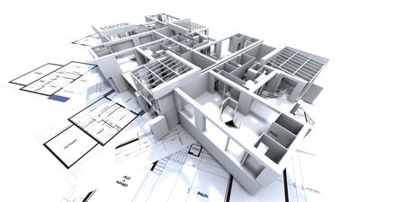 appartment mockup on top of architect's blueprints Stock Photo - 1614809