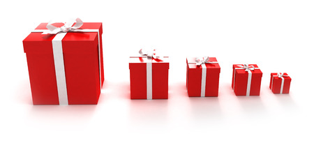 Red gift boxes in different sizes photo
