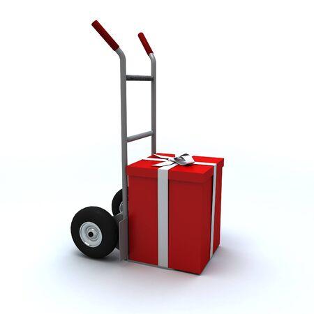 ���push cart���: Big red gift box in a push cart