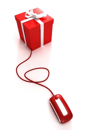 Red Gift box connected to a mouse Stock Photo - 1614797