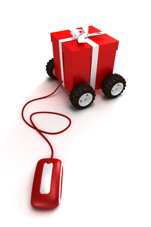 моторизованный: Motorized gift box connected to a mouse