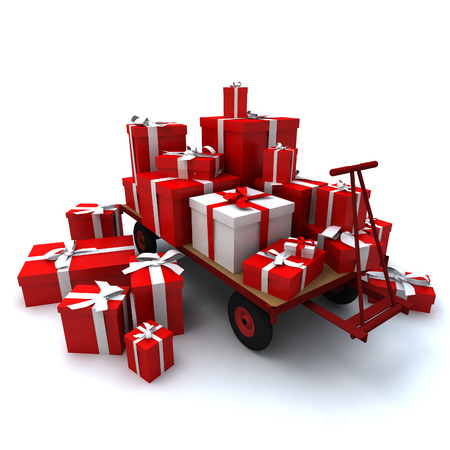 Heap of gift boxes on pallet truck photo