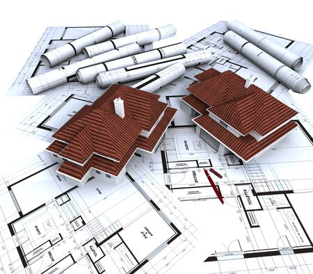 Aereal view of two house mockups with red roofs on top of architect's blueprints Stock Photo - 1650028