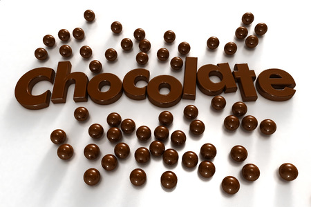 formed: Word chocolate formed by chocolate-textured letters and surrounded by chocolate drops on a white background