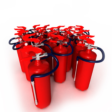 fire extinguishers: A group of red fire extinguishers on a white background