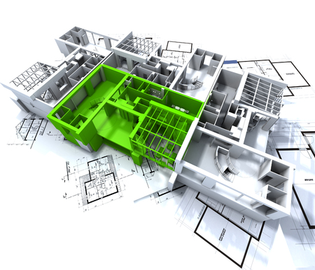 Apartment highlighted in green on a white architecture mockup on top of architect's plans Stock Photo - 1650023