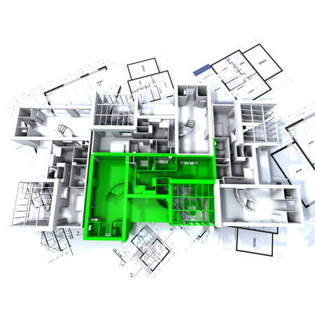 Apartment highlighted in green on a white architecture mockup on top of architect's plans Stock Photo - 1650022