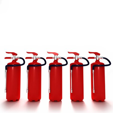 extinguishers: A line of five red fire extinguishers against white background