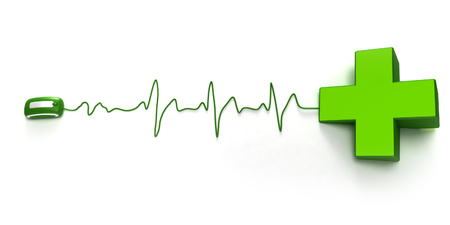 online transaction: pharmacys symbol green cross connected to a computer mouse suggesting an online pharmacy Stock Photo