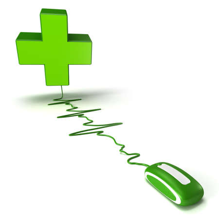 pharmacys symbol green cross connected to a computer mouse suggesting an online pharmacy photo