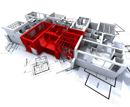 Apartment highlighted in red on a white architecture mockup on top of architect's plans Stock Photo - 1650020
