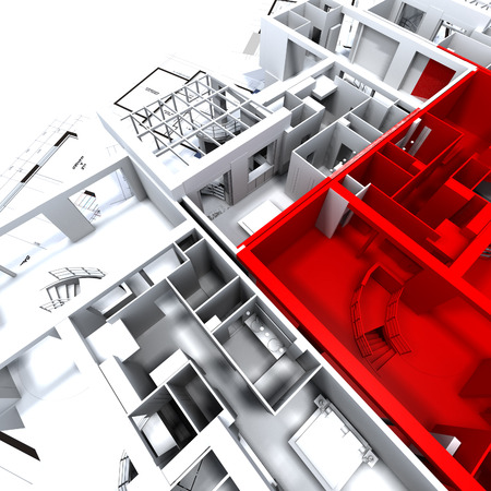 Apartment highlighted in red on a white architecture mockup on top of architect's plans Stock Photo - 1650025