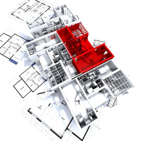 Apartment highlighted in red on a white architecture mockup on top of architects plans photo