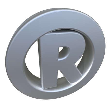 registered: 3D rendering of a metallic Registered symbol