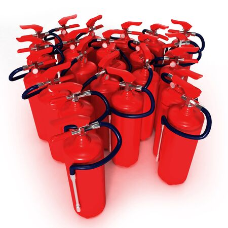 extinguishers: Group of red fire extinguishers on a white background
