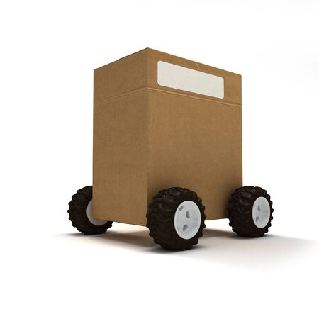 stock car: Cardboard box package on wheels Stock Photo